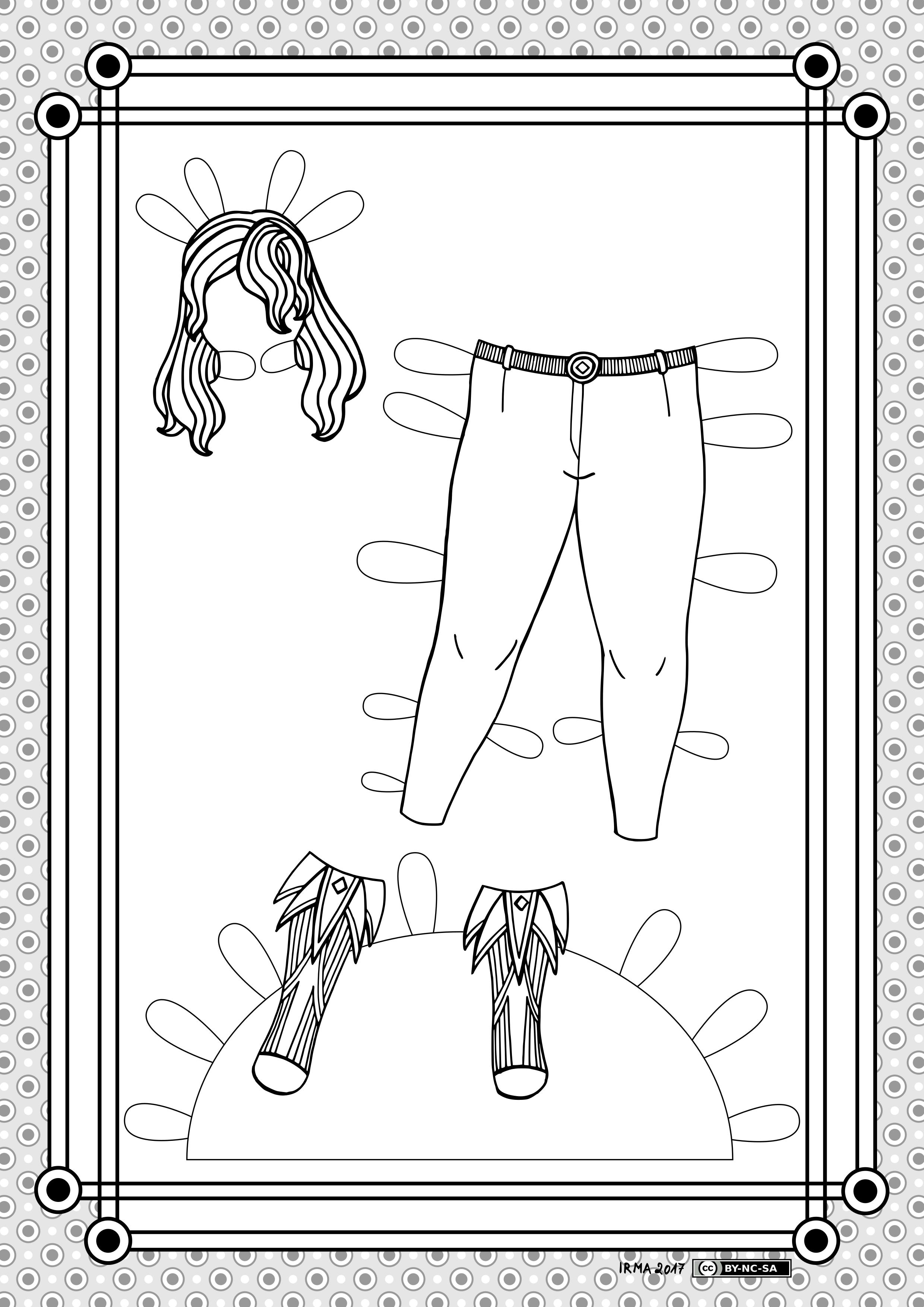 Stiliseeritud parukas, vööga püksid ja kolmnurksete kaunistustega saapad pabernukule.